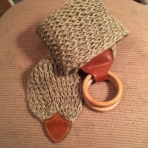 The Limited crocheted with leather trim belt
